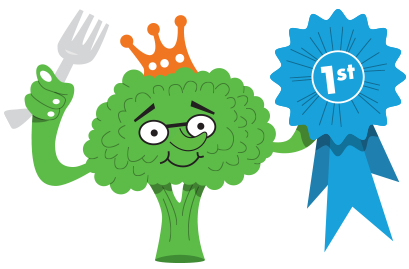 cartoon of broccoli holding a first prize ribbon