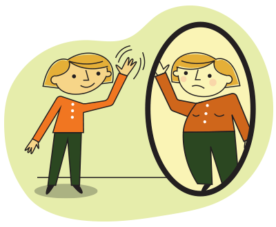 Illustration of thin woman waving goodbye to her overweight self in the mirror